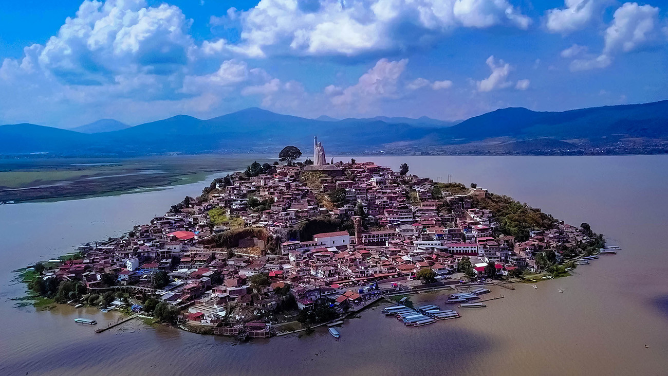 Aerial view of Janitzio Island in Lake Pátzcuaro. | Marcos E. Ramos Ponciano, Shutterstock