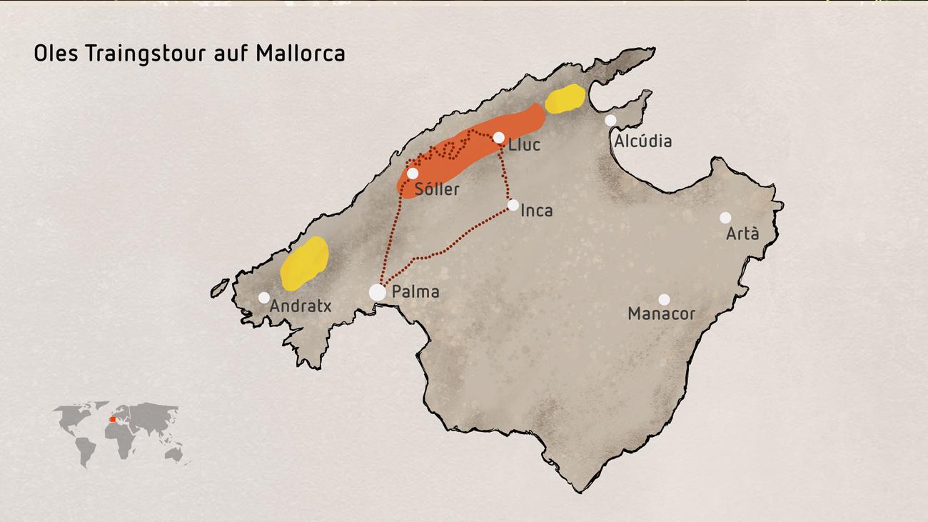 Bei seiner Radtour durch die Serra de Tramuntana (gestrichelte Linie) ahnte Ole noch nicht, dass er durch den Lebensraum des gefährdetsten Froschlurchs Europas fuhr, auch wenn das zwischenzeitlich noch stärker geschrumpfte Gebiet (in Orange) durch das Auswilderungsprogramm europäischer Zoos deutlich erweitert werden konnte (in Gelb).